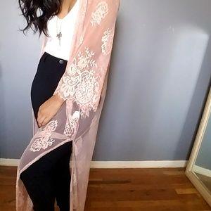 bfadd5e0a5b Dresses - PEACH PINK EYELASH LACE CARDIGAN